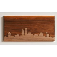 Dave Marcoullier Wood Routings City Skylines Solid Walnut Portland Skyline Routing Wall Art