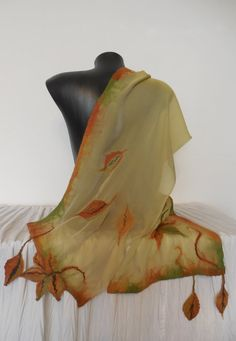 For each scarf I have added a small gift. Enjoy! Unique long autumn nuno felt silk scarf. Original model, light, soft, sheer, airy and delicate. One of a kind lightweight beautiful nuno felting scarf hand - felted on silk. Fabric forms a beautiful folds. Suitable for all seasons, for