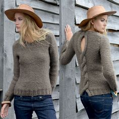 ♥ Tricot gratuit: pull point jersey avec maxi torsade dans le dos -------------------------------- FREE knitting pattern - elegant pullover with maxi cable at the back Crochet Yarn, Knitting Yarn, Knitting Patterns, Pull Torsadé, Pullover, Sweater Shirt, Knitwear, My Style, Clothes