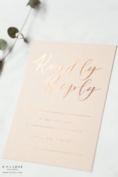Adele style wedding RSVP, simple, chic and gorgeously hand foiled in rose gold. Luxury Wedding Invitations, Wedding Rsvp, Wedding Stationery, Adele Style, Order Of Service, Rose Gold Foil, Wax Seals, Invites, Wedding Details
