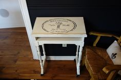 Antique bible table with drawer.   Soft white with black French boulangerie stencil.