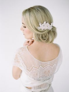 vintage lace headpiece with short veil   ...   Wedding Hair Accessories, Wedding Garters and Bridal Headpieces