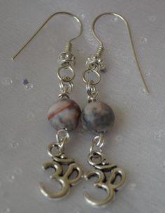 Silver OM Aum OHM Jasper Dangle Drop Earrings Hook Back  #MGK #DropDangle