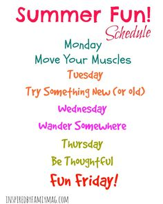 Our Flexible Summer Schedule - A summer routine is necessary but it doesn't have to be overwhelming and detailed--keep it simple with this schedule! FREE printable to put up on your fridge. Kids Summer Schedule, Daily Schedule Kids, Summer Checklist, Family Schedule, Space Activities For Kids, Summer Preschool Activities, Summer Daycare, Charts For Kids, School Closures