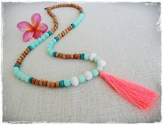 Mint and natural wood bead tassel necklace  mint by Brightnewpenny, $25.00