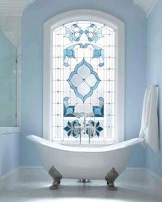 stained glass window in the bathroom. I love the blue colour for the glass! stained glass window in the bathroom. I love the blue colour for the glass! stained glass window in the bathroom. I love the blue colour for the glass! Bad Inspiration, Bathroom Inspiration, Bathroom Ideas, Design Bathroom, Bathroom Colors, Blue Bathrooms, Bathroom Interior, Luxury Bathrooms, Master Bathrooms