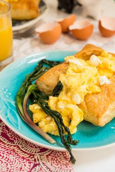 Goat Cheese Scrambled Eggs and Ramps in Puff Pastry #SundaySupper