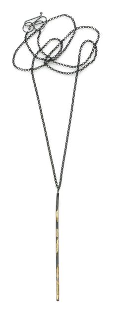 Iris Guy Sofer Long Line Drop Necklace - Oxidized silver and 18k gold