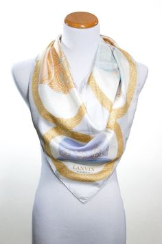 Lavin Paris Silk Scarf Vintage Millinery Scene Ivory Grey Gold Light Blue 100% Silk Made in Italy  Scene Depicts Fine Millinery of the Art Deco