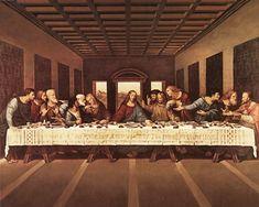 La ultima cena de Leonardo Da Vinci; siempre me gusto la imaginación de Da Vinci al colocar a todos del mismo lado de la mesa..., sacrificando realidad por mostrar la impresión de los rostros...
