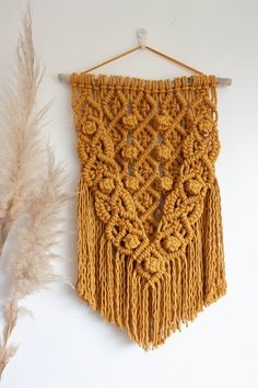 Macrame Wall Hanging, Macrame Wall Tapestry, Boho Decor Tapestry, Housewarming gift Wall Tapestry, Boho Decor, Decorating Your Home, House Warming, Mustard, Macrame, Cotton, Handmade, Gifts