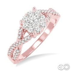 Rose Gold, round diamond cluster style engagement ring with a twisted shank.