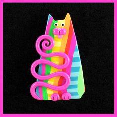 Rainbow & PInk Kitty Cat Pin by artsandcats, via Flickr