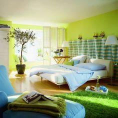 bed, bedroom, blue, decor, green, interior
