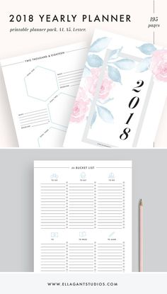 2018 Planner Printable Monthly Weekly Pages Agenda Inserts A4 A5 LETTER