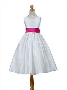 A-line Sleeveless Stylish Satin with Contrast Sash flower girl dress FG029