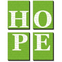 Art.Com Green Green Hope Canvas Art Set ($216) ❤ liked on Polyvore featuring home, home decor, wall art, green, stretched canvas, canvas home decor, green wall art, canvas wall art and green home decor