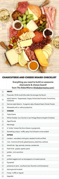 The BEST Charcuterie and Cheese Board Checklist - Brunch - entertaining Charcuterie And Cheese Board, Charcuterie Platter, Antipasto Platter, Cheese Boards, Food Platters, Cheese Platters, Wine And Cheese Party, Wine Cheese, Charcuterie Board