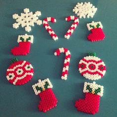 Christmas ornaments hama perler beads by Beaded Christmas Decorations, Christmas Perler Beads, Beaded Ornaments, Hama Beads Design, Hama Beads Patterns, Beading Patterns, Art Perle, Iron Beads, Melting Beads