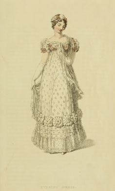 Evening Dress, 1816 - Ackermann's Repository Series2 Vol 1 - June Issue