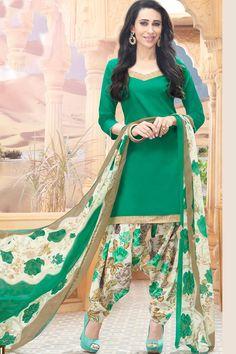 Green & Multi Unstitch Cotton Patiala Suit