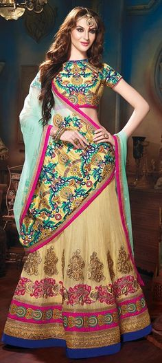 $ 176 153520, Mehendi & Sangeet Lehenga, Cotton, Khadi, Border, Thread, Lace, Machine Embroidery, Resham, Stone, Zari, Beige and Brown Color Family