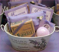 Toiletries basket idea wedding favors for the lavender wedding - lavender sachets, soaps & spa items Lavender Cottage, Lavender Soap, Lavender Sachets, Lavender Blue, Lavander, Lavender Crafts, Wedding Lavender, Lavender Fields, Wedding Favors