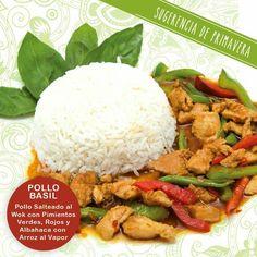 ¿Qué te parece nuestra ##sugerencia de la semana? Se trata de una de nuestras especialidades tailandesas ##PolloBasil, todo lo bueno del pollo salteado con verduras (pimiento rojo y verde) con la frescura de la #albahaca y acompañado de aarrozjazmin el vapor. Buen provecho!!