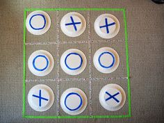 This enlarged tic tac toe game is beneficial for praxis skills because it requires a child to plan sequential movements by hopping to where he or she places the plate with the designated x or o.