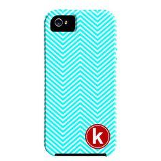 Skinny Chevron Monogram iPhone 5 Case in Turquoise