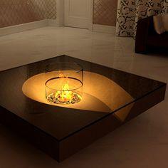 Chocolate fireplace coffee table (awesome) #home