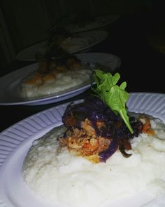Fish &grits;Cod fish (salt fish) creamy coconut grits,and purple cabbage
