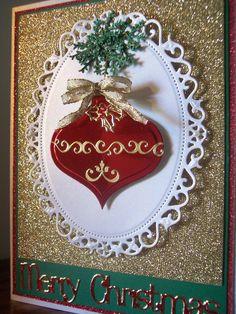Heirloom ornaments with dazzles. Spellbinders Floral Oval.  SueBee Cards   Susan Bagley