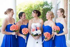 Bridesmaids in David's Bridal Horizon {Cobalt Blue and Coral} Virginia Wedding|Rebecca & Robert