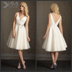 (wd4033) Yimi Style Elegant Low Back Tulle Tea Length Wedding Dresses V Neck Photo, Detailed about (wd4033) Yimi Style Elegant Low Back Tulle Tea Length Wedding Dresses V Neck Picture on Alibaba.com.