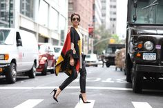 camila coelho in nyc wearing poncho