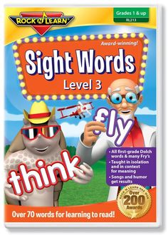 Sight Words Level 3 (DVD) covers all Dolch first-grade sight words and many from the Fry's list. Sight words are taught in isolation and in context for meaning. Humorous characters and catchy songs get results. 1st grade & up. 25% OFF with COUPON CODE PINIT at checkout. Rock N Learn Sight Words Video / First Grade Sight Words / 1st Grade Sight Words