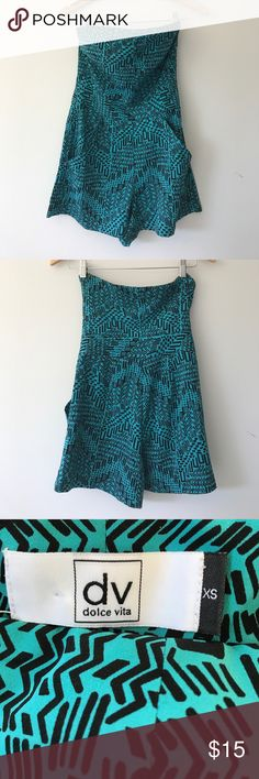 Dolce Vita romper with POCKETS! Super cute and sassy strapless romper. Beautiful turquoise color with Aztec inspired print. I love this outfit so much but it turns out my love for tacos was greater. 🌮 total length is 24 inches. Dolce Vita Dresses Strapless