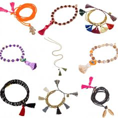 Tasseltastic Treasures at Dana Levy — Our tassel adorned jewellery will make you want to shimmy all day long! Choose charming pieces from our gemstone bracelets, friendship bracelets and cord necklaces collections featuring tassels in a variety of stunning colours.