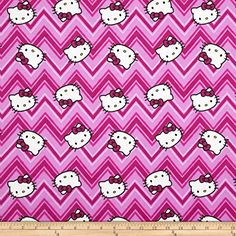 Hello Kitty Flannel Chevron Toss Pink Fabric By The Yard ...