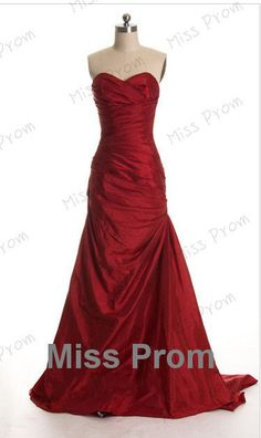 Sweetheart Satin Ruffle  Evening Dresses Sweep Train by missprom, $129.00