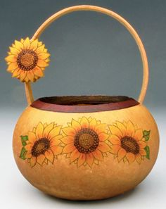 Sunflower Gourd Basket by Christy Barajas