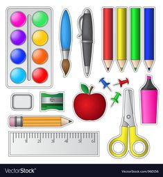 Buy Set of School Tools and Supplies by on GraphicRiver. Set of School Tools and Supplies.