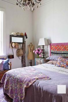 ⋴⍕ Boho Decor Bliss ⍕⋼ bright gypsy color & hippie bohemian mixed pattern home decorating ideas - bedroom with lavender