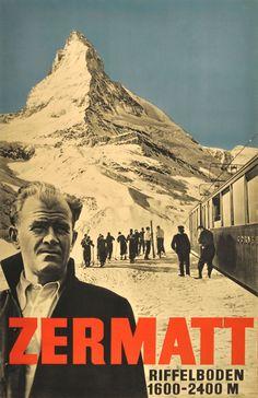 Original Vintage Posters -> Ski Posters -> Zermatt Ski Resort Switzerland - AntikBar