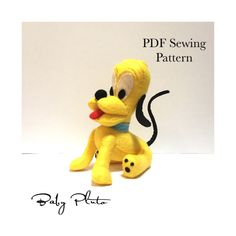Felt Pluto sewing Pattern - Felt Plushie Pluto, Toy Pluto, Pluto, PDF downloadable, sewing pattern, kidsroom decor, Baby Pluto, Sewing Pdf Sewing Patterns, Sewing Tutorials, Sewing Projects, Monkey Pattern, Felt Embroidery, Felt Baby, Tapestry Design, Felt Animals, Digital Pattern