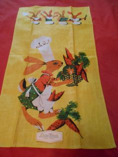 VTG 50's LINEN KITCHEN TOWEL BUNNY CHEF BASKET& APRON OF CARROTS 4 BUNNY DINERS