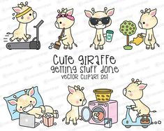 Premium Vector Clipart  Kawaii Giraffe  Cute Giraffe