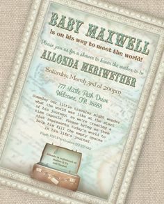 Little Traveler Baby Shower Invitation - Baby Meets World Collection - Gwynn Wasson Designs - PRINTABLES. $15.00, via Etsy. baby-meets-world-baby-shower