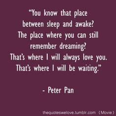 """""""Tu sais cet endroit entre le sommeil et le réveil ? Cet endroit où tu te rappelles encore avoir rêver ? C'est là que je t'aime rais toujours. C'est là que j'attendrais."""""""